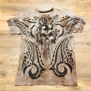 Affliction Sunny Garcia Distressed T Shirt M Brown